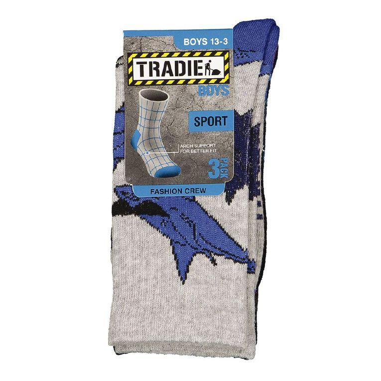 Tradie Tradie Boys' Fashion Crew Socks 3 Pack, Black, hi-res