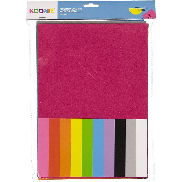 Kookie Felt Sheet 10 Pack Multi-Coloured A4, , hi-res