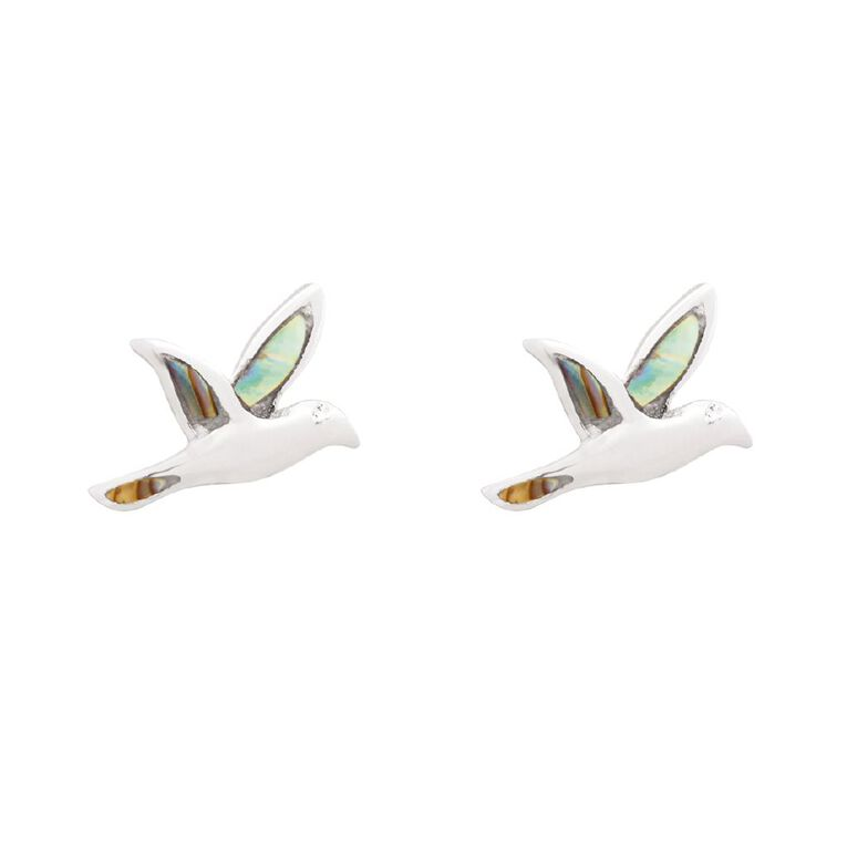 Sterling Silver Plated Paua Bird Studs, , hi-res
