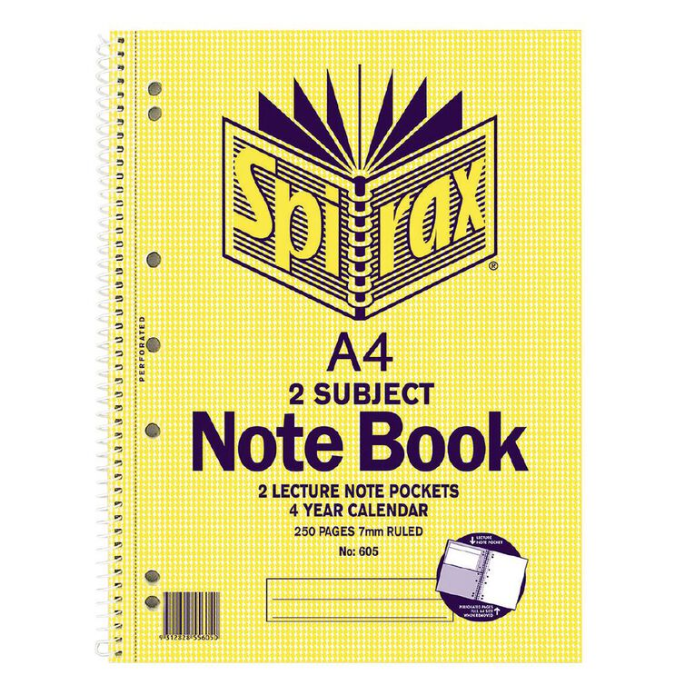 Spirax 2 Subject Notebook 605 250 Page Yellow A4, , hi-res