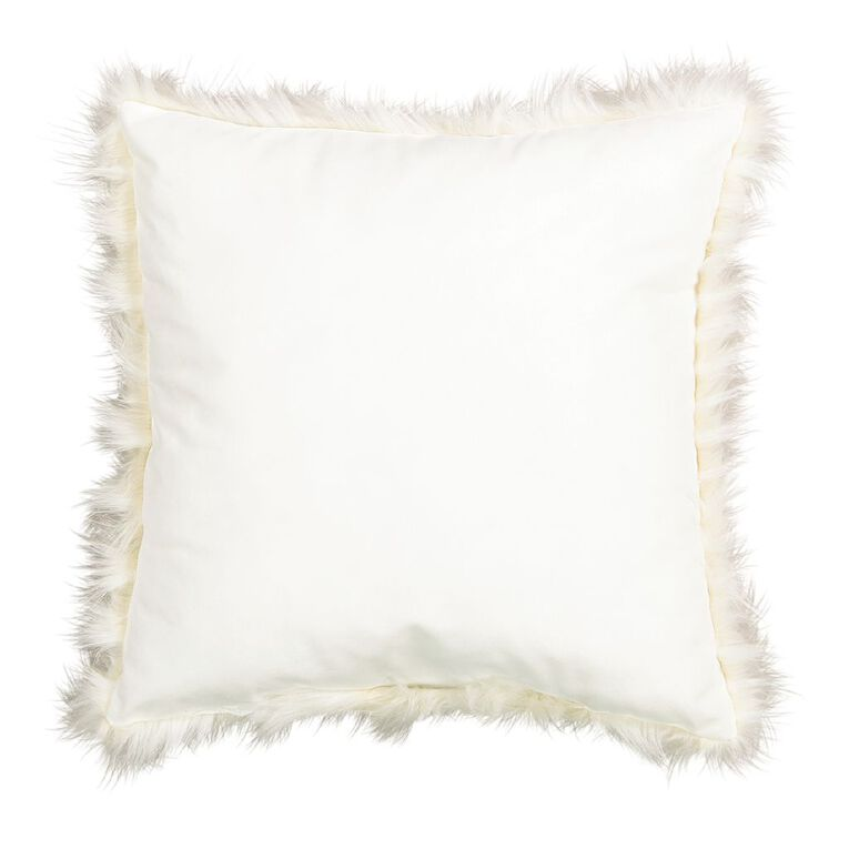 Living & Co Nordic Luxe Faux Feather Cushion Natural 45cm x 45cm, Natural, hi-res