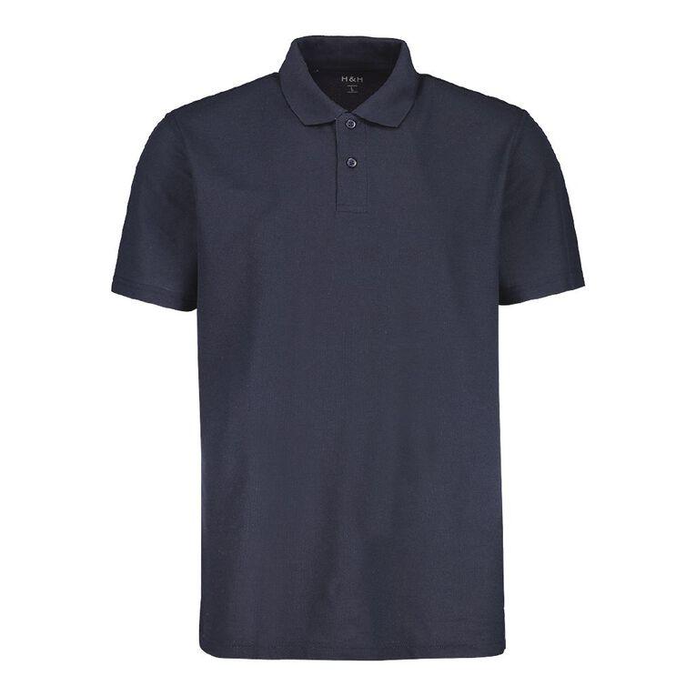 H&H Men's Short Sleeve Plain Pique Polo, Navy, hi-res