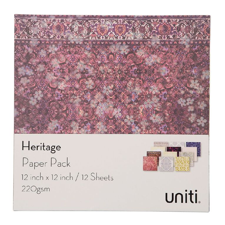 Uniti Heritage Paper Pack 12x12 Inch 12 Sheets 220gsm, , hi-res