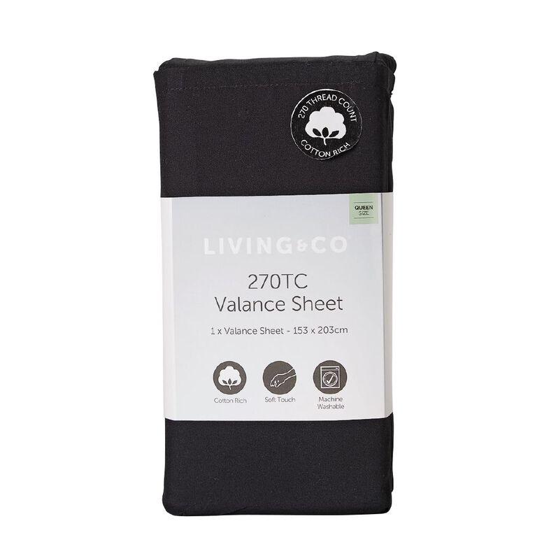Living & Co Valance Cotton Rich 270 Thread Count Black Single, Black, hi-res