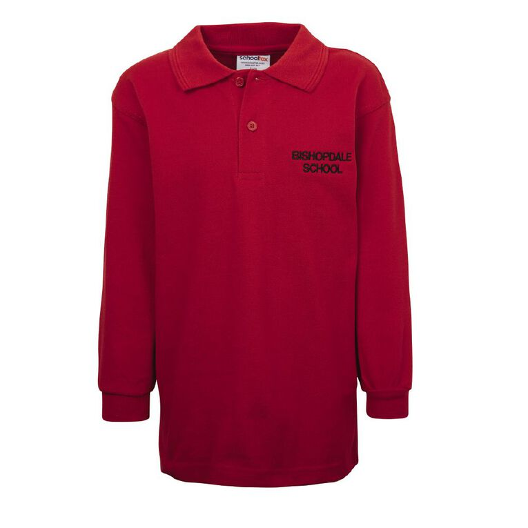 Schooltex Bishopdale Long Sleeve Polo with Embroidery, Red, hi-res