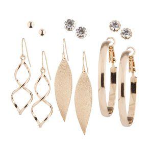 Basics Brand Diamante Ball Swirl Hoop Gold Earrings 6 Pairs