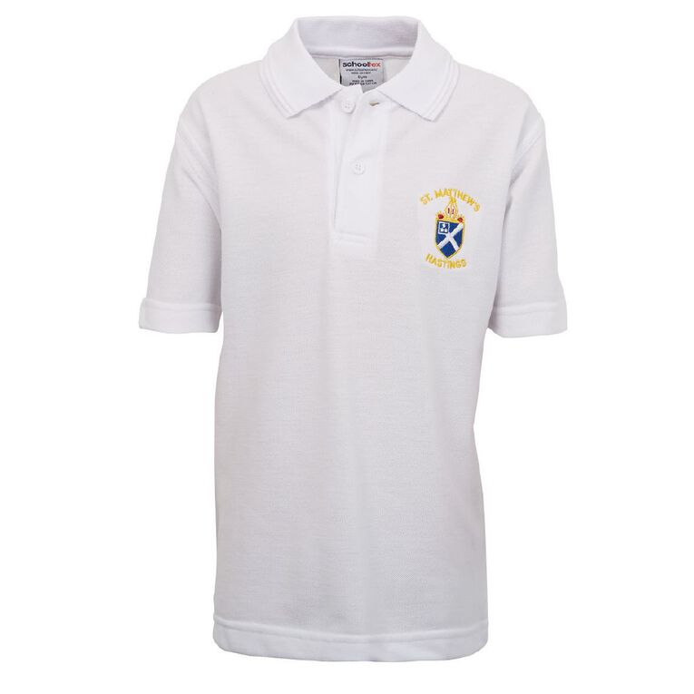 Schooltex St Matthew's Hastings Polo with Embroidery, White, hi-res