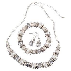 Basics Brand Earring Bracelet & Necklace Beaded Disc Silver Set