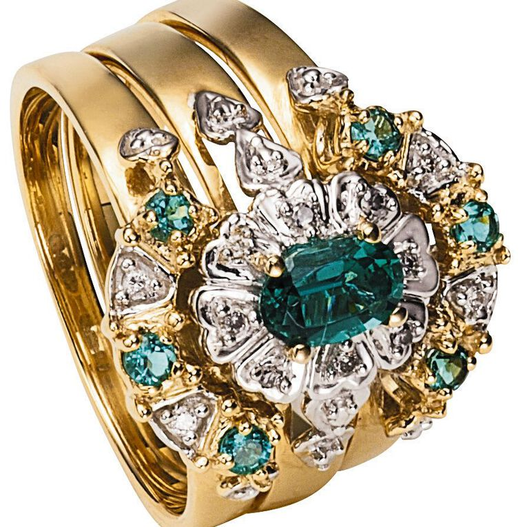 9ct Gold Diamond Synthetic Emerald Trio Ring Set, Yellow Gold, hi-res image number null