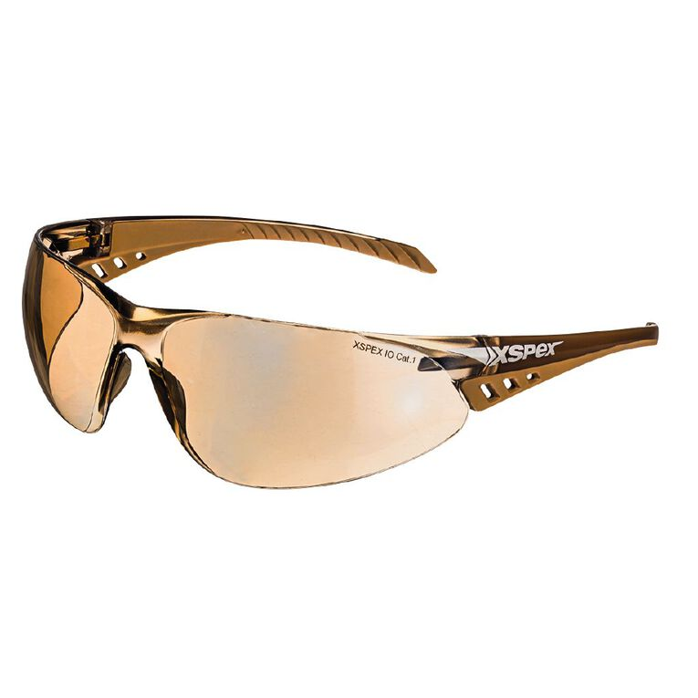 XSPEX Safety Spec Lens Wraparound Style With Soft Rubber Sidearms Bronze, , hi-res
