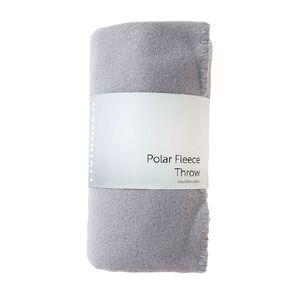 Living & Co Plain Polar Fleece Throw Quarry Grey 127cm x 152cm