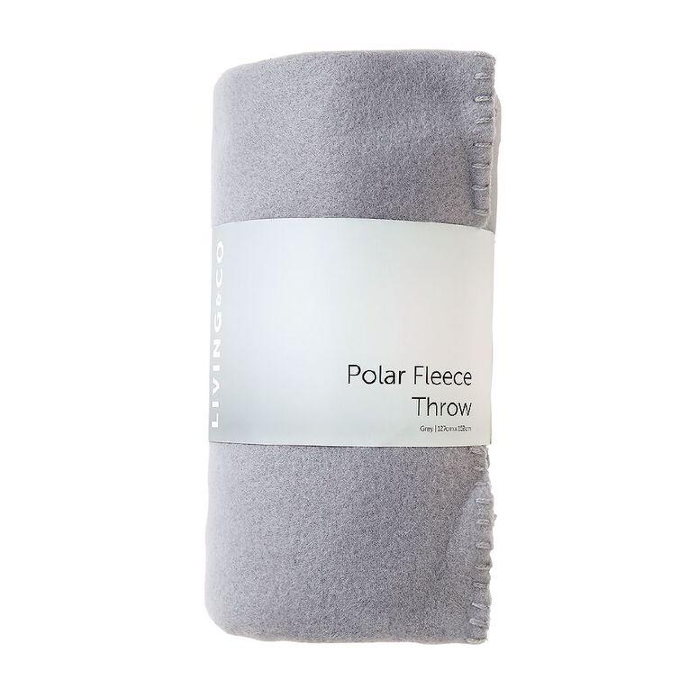 Living & Co Plain Polar Fleece Throw Quarry Grey 127cm x 152cm, Grey, hi-res