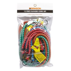 Mako Bungee Cords with Steel Hooks Set 12 Pack