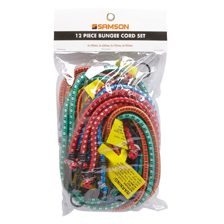 Mako Bungee Cords with Steel Hooks Set 12 Pack, , hi-res
