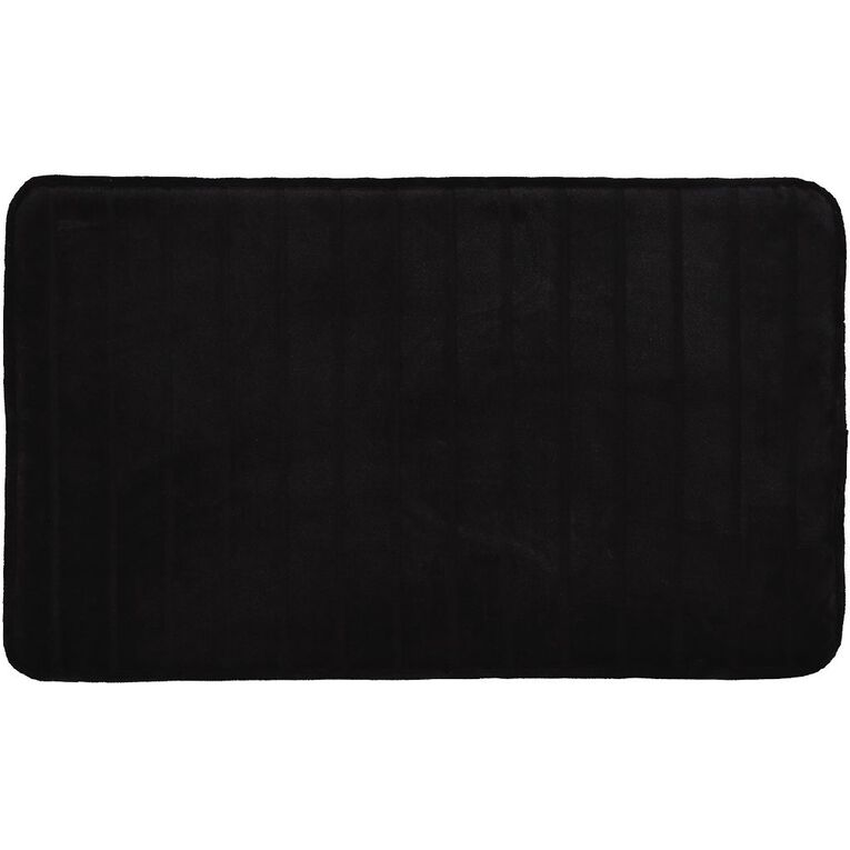 Living & Co Bath Mat Memory Foam Black 45cm x 75cm, Black, hi-res image number null