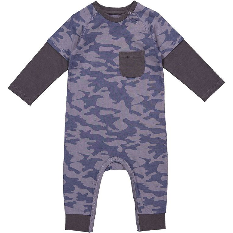 Young Original Baby Double Sleeve Romper, Blue Light, hi-res