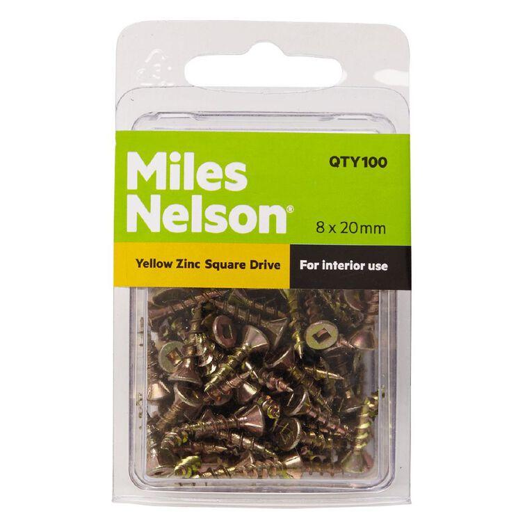 Miles Nelson Yellow Zinc Square Drive Screws 8mm x 20mm, , hi-res