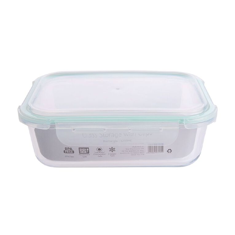 Living & Co Glass Container with Clips Rectangle Clear 1200ml, , hi-res