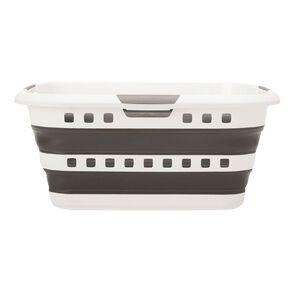 Living & Co Flexi Collapsible Laundry Basket Black/White