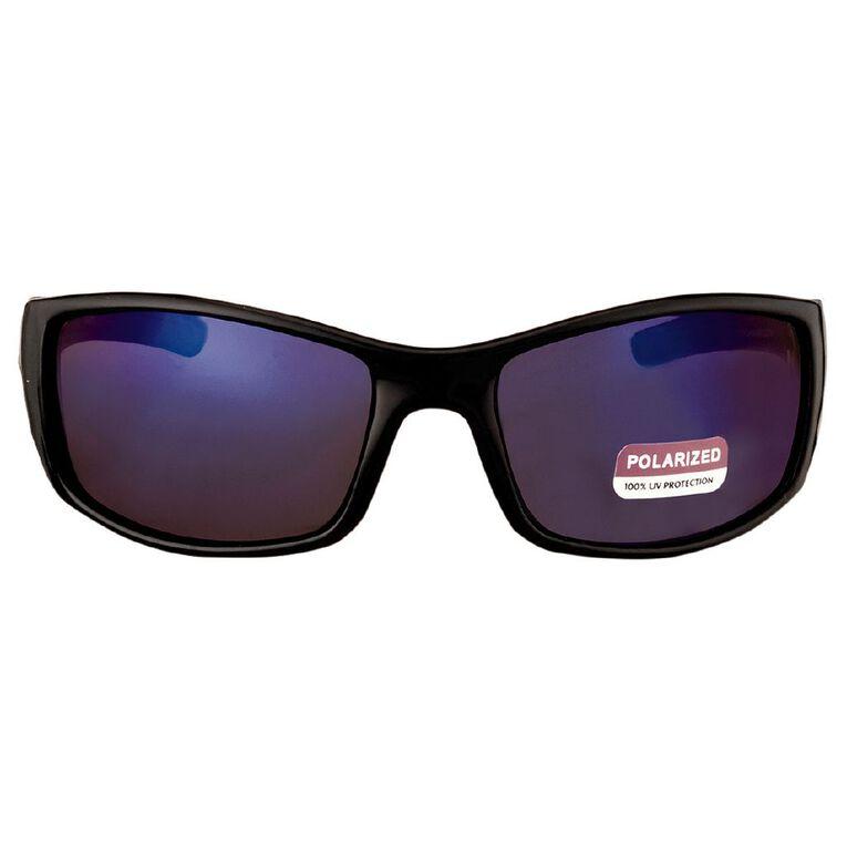Beach Works Men's Wrap Polarised Sunglasses, Black, hi-res