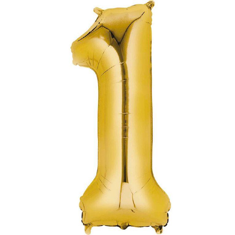 Anagram #1 Foil Balloon Supershape 36in Gold, , hi-res