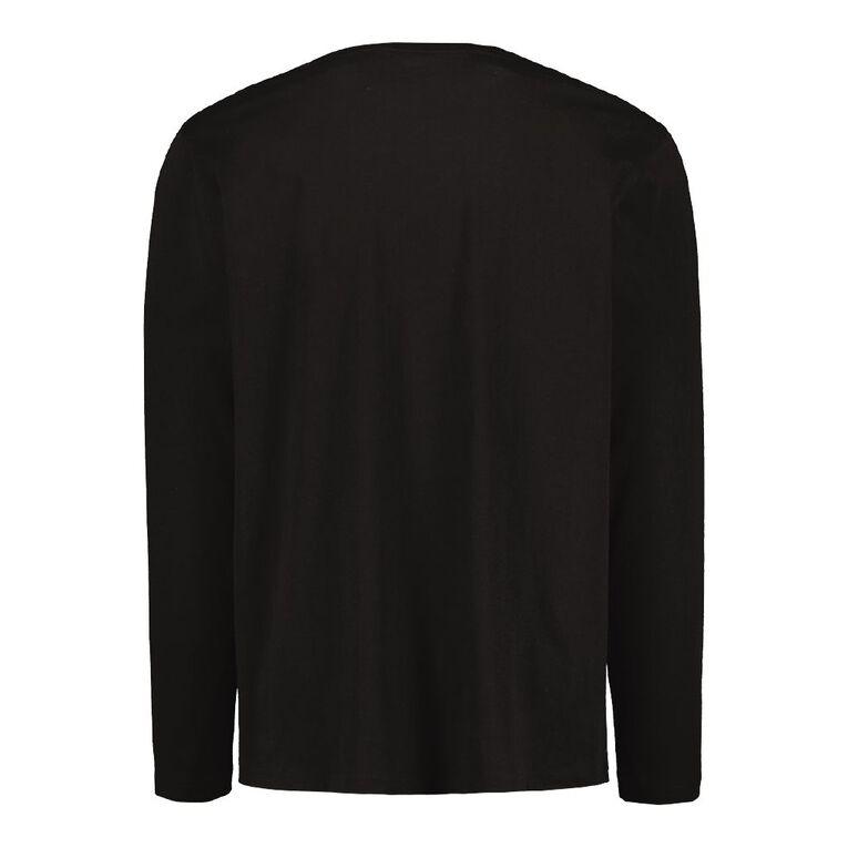 H&H Men's Crew Neck Long Sleeve Plain Tee, Black, hi-res