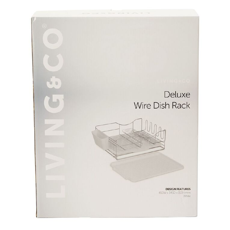 Living & Co Deluxe Wire Dish Rack White, , hi-res