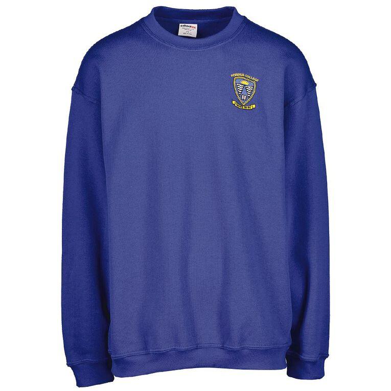Schooltex Porirua College Sweatshirt with Embroidery, Royal, hi-res