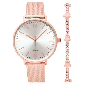 Little Tix Girls' Analogue Watch & Bracelet Set Rose Gold