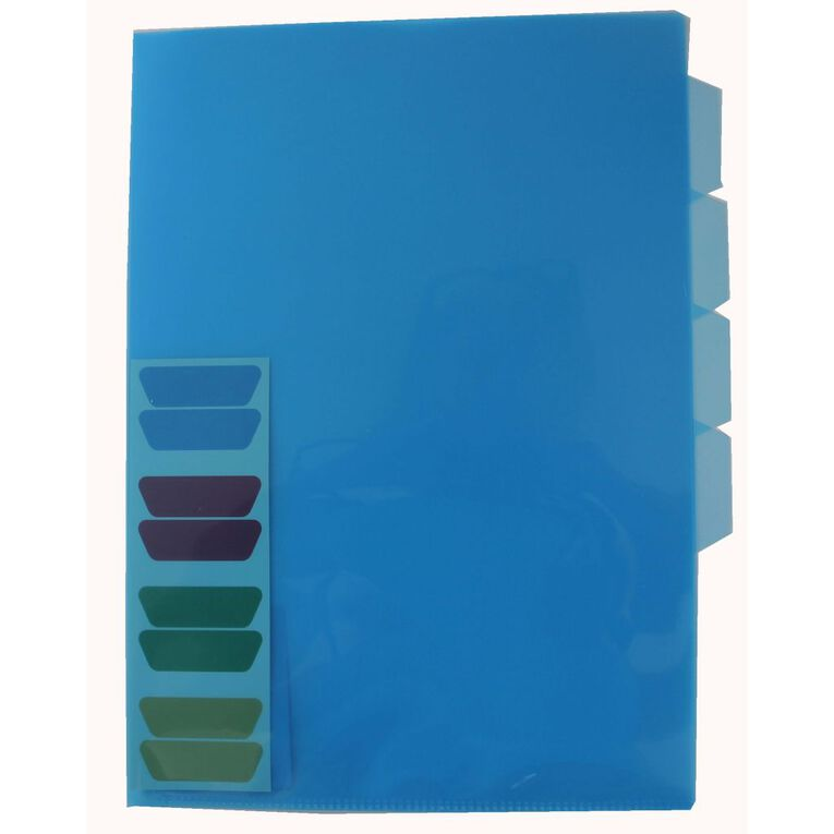 Office Supply Co File L-Shaped Pockets 4 Tab Indexed Single Blue, , hi-res