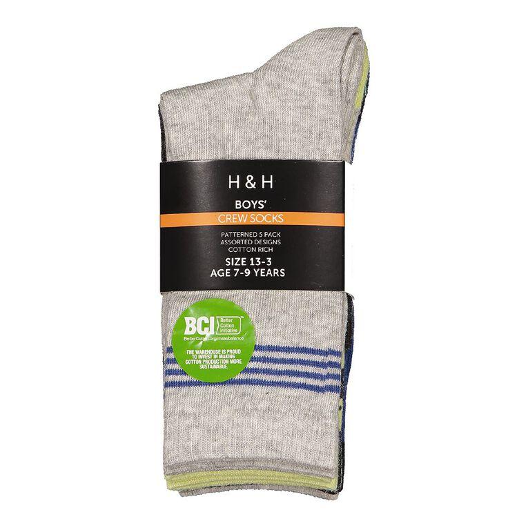 H&H Boys' Patterned Crew Socks 5 Pack, Charcoal/Marle, hi-res