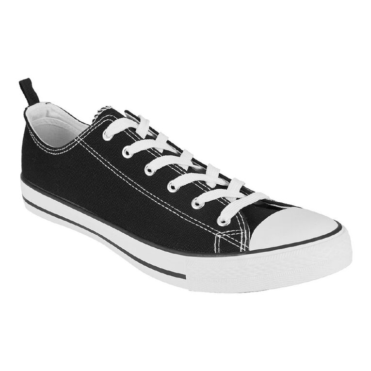H&H Freestyle Canvas Low Top Sneakers, Black/White, hi-res