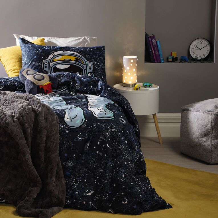 Living & Co Kids Duvet Cover Set Astronaut Navy King Single, Navy, hi-res
