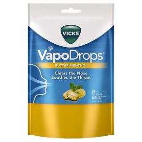 Vicks VapoDrops Butter Menthol Lozenges 24s