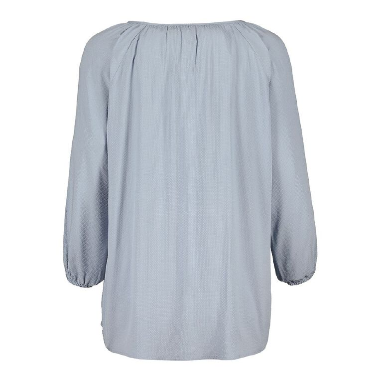 H&H Women's 3/4 Sleeve Print Blouse, Blue Light, hi-res