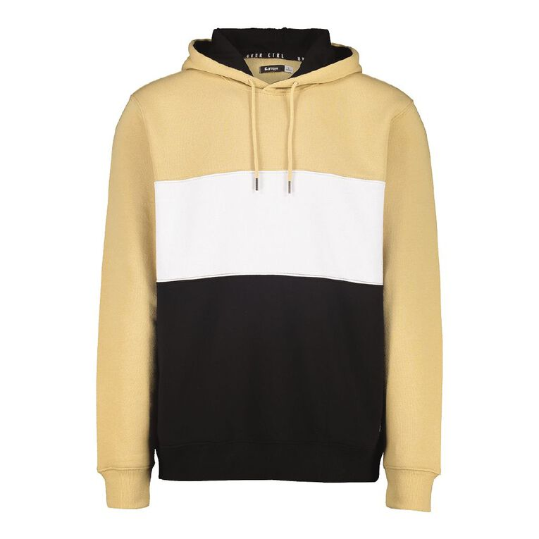 Garage Men's Hooded Splice Panel Sweatshirt, Tan, hi-res