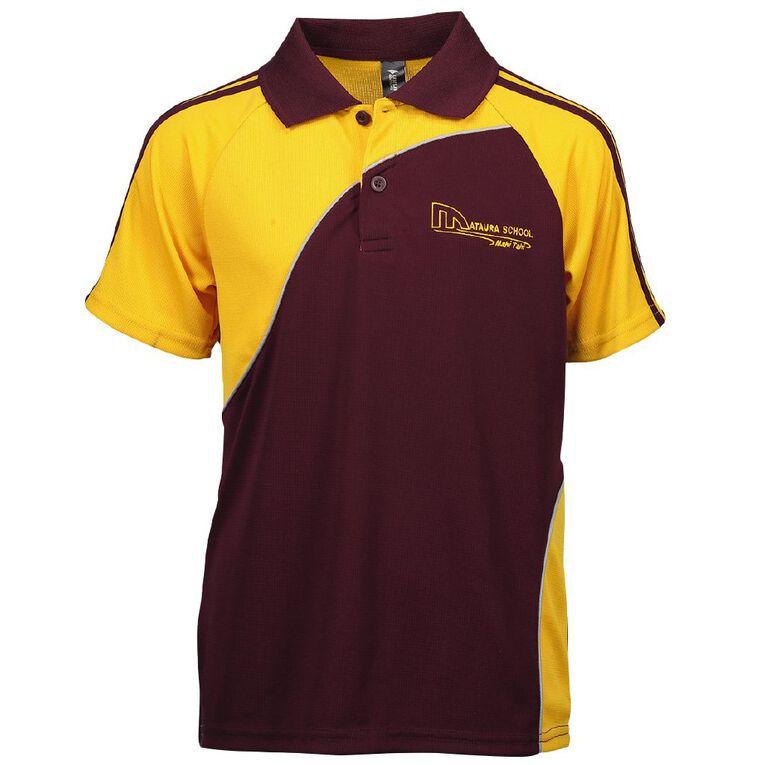 Schooltex Mataura School Short Sleeve Polo with Embroidery, Maroon/Gold, hi-res
