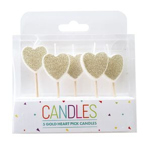 Heart Pick Candles Gold 5 Pack