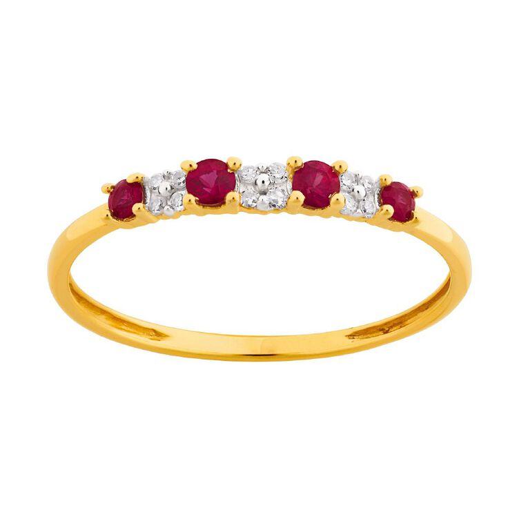 0.05 Carat Diamond 9ct Yellow Gold Natural Ruby Ring, Yellow Gold, hi-res