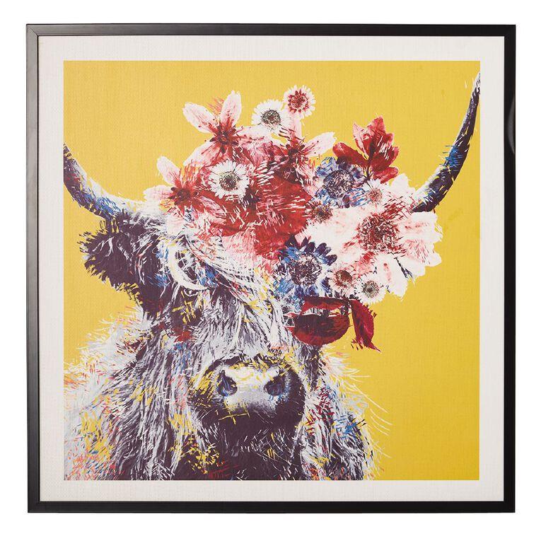 Living & Co Highland Cow Floral Framed Print 80 x 80 x 2.3cm, , hi-res
