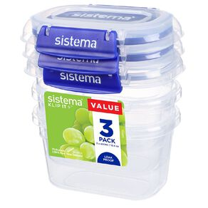 Sistema Klip It Plus Rectangle Container 3 Pack Assorted 400ml