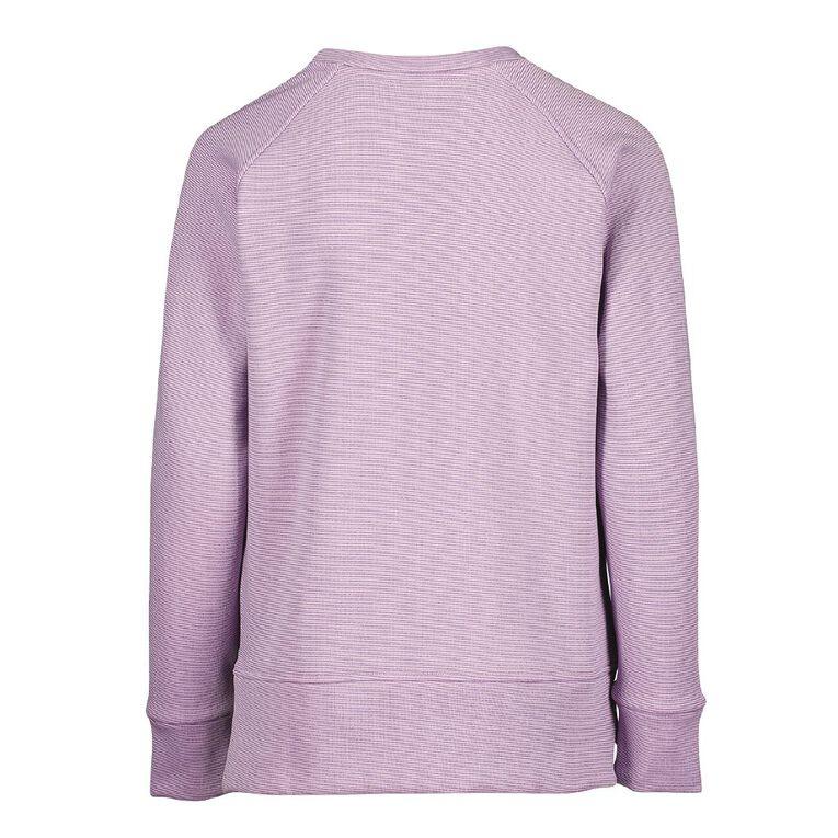 Active Intent Girls' Side Zip Sweatshirt, Purple Light, hi-res
