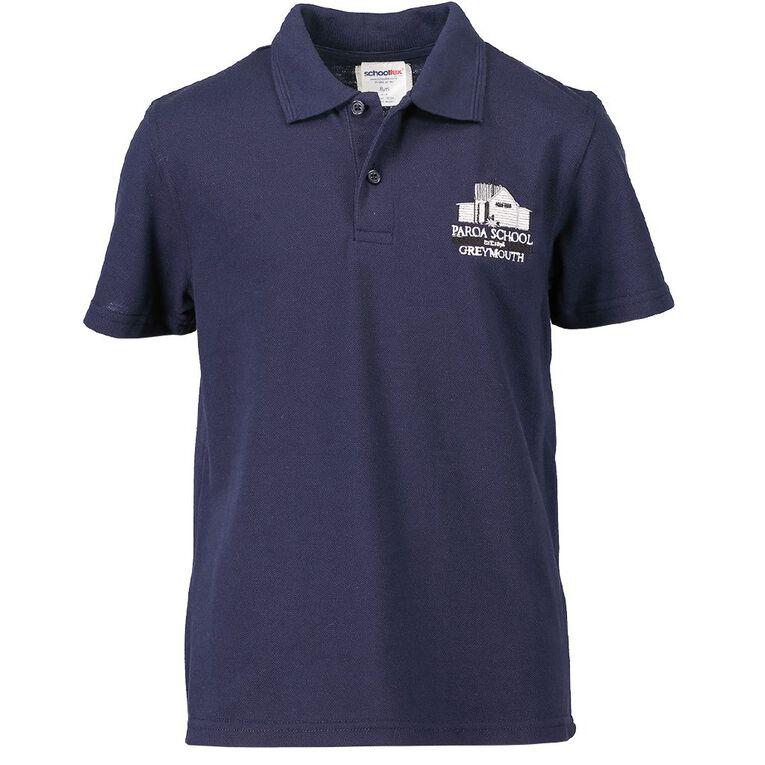 Schooltex Paroa Greymouth Short Sleeve Polo with Embroidery, Navy, hi-res