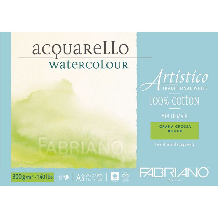 Fabriano Artistico Watercolour Pad Rough 300GSM 12 Sheets A3, , hi-res
