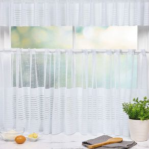 Living & Co Cafe Linear Net White 150cm Wide/22cm & 48cm Drop