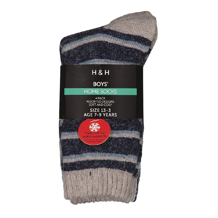 H&H Boys' Home Socks 4 Pack, Navy, hi-res