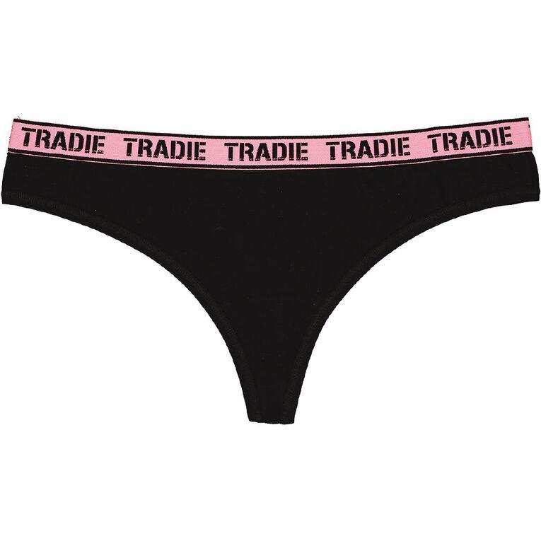 Tradie Women's G-String 3 Pack, Black, hi-res image number null