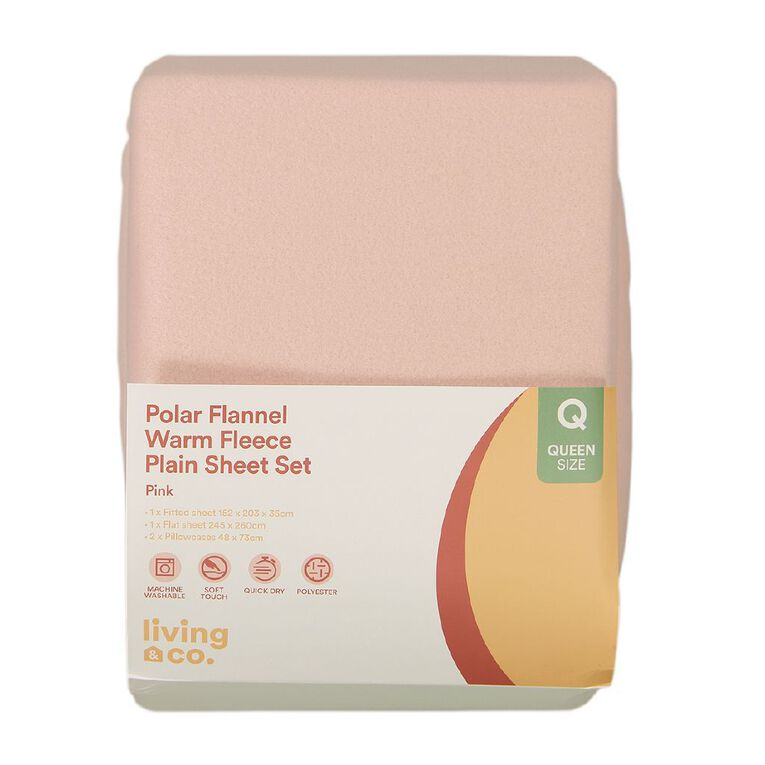 Living & Co Sheet Set Polar Flannel Plain Dye Rose Dust Pink King, Pink, hi-res