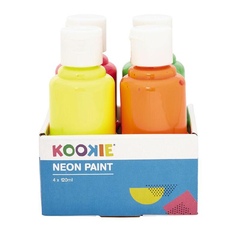 Kookie Acrylic Paint Neon 120ml 4 Pack, , hi-res