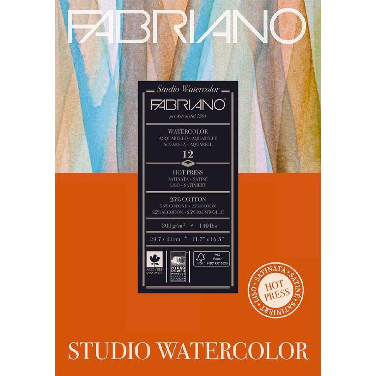 Fabriano Studio Watercolour Pad Hot Pressed 300GSM 12 Sheets A3, , hi-res